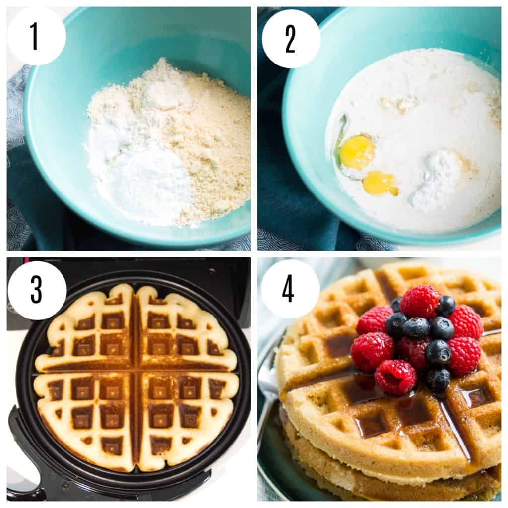 Step by step directions for making paleo waffles