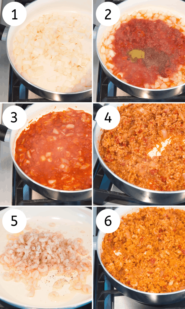 Step by step directions for making Spanish cauliflower rice with shrimp