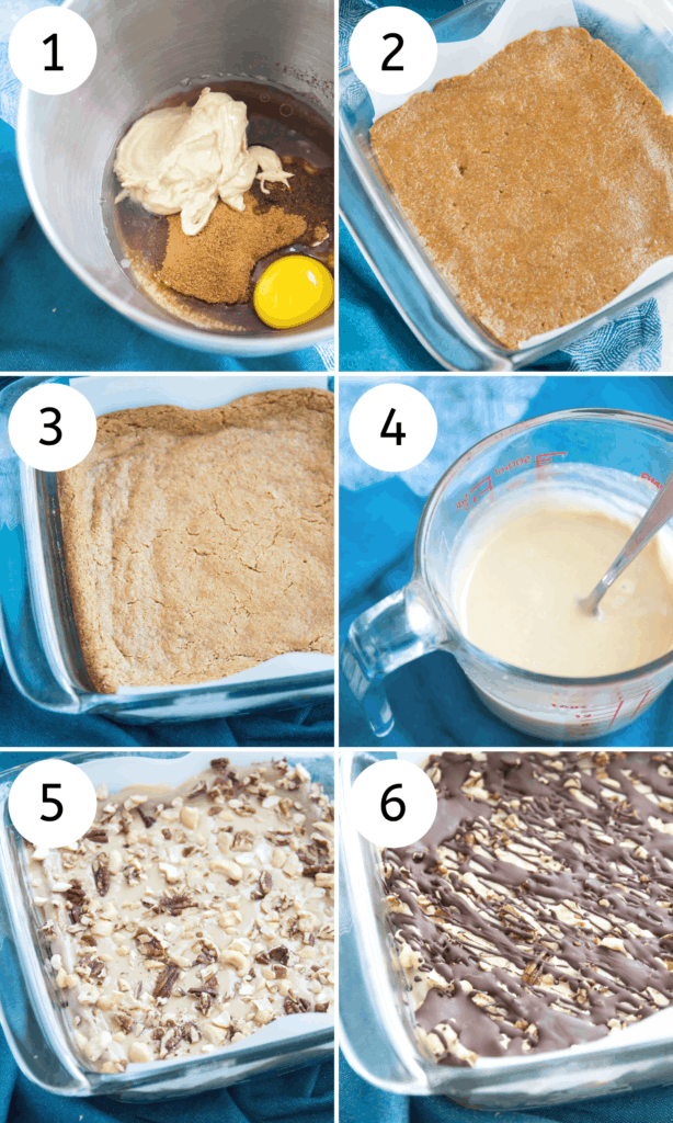 step by step directions for making turtle cookie bars
