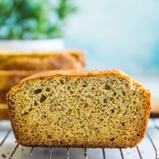 a loaf of paleo bread that is cut in the middle