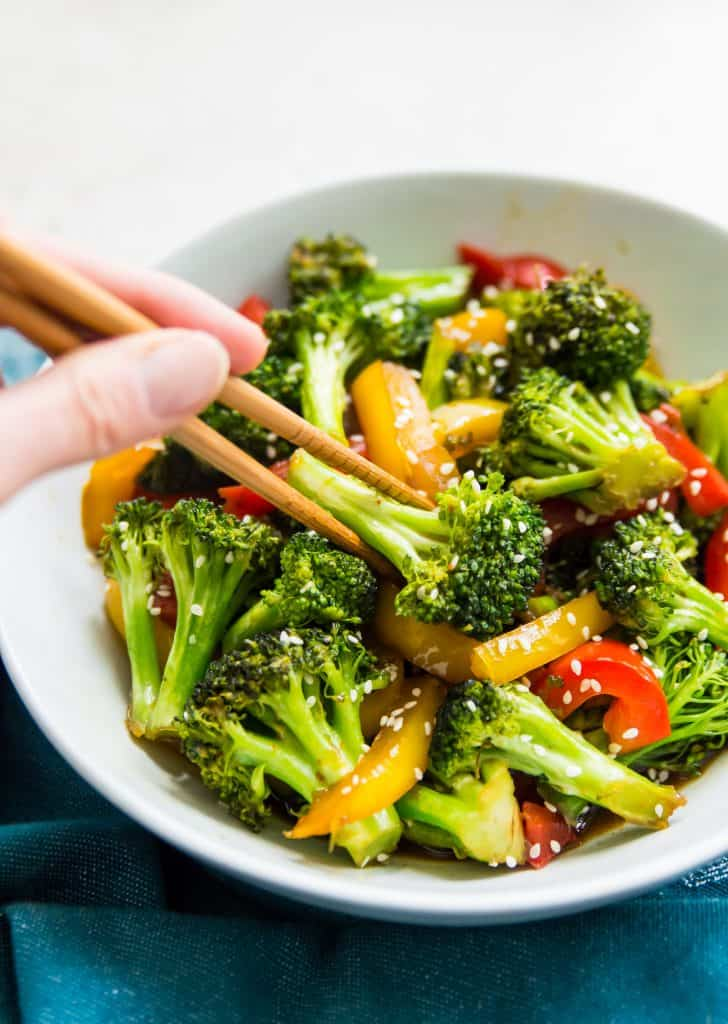 A bowl of broccoli and peppers with teriyaki sauce and chopsticks