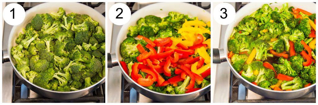 Step by step directions for making teriyaki broccoli and peppers