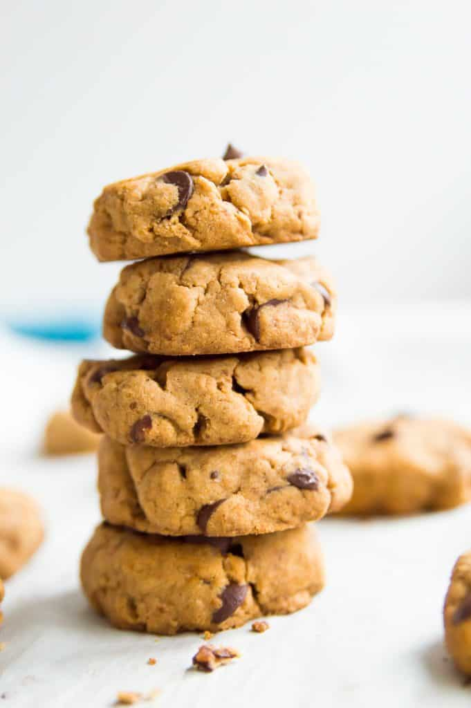 A stack of five cassava flour chocolate chip cookies