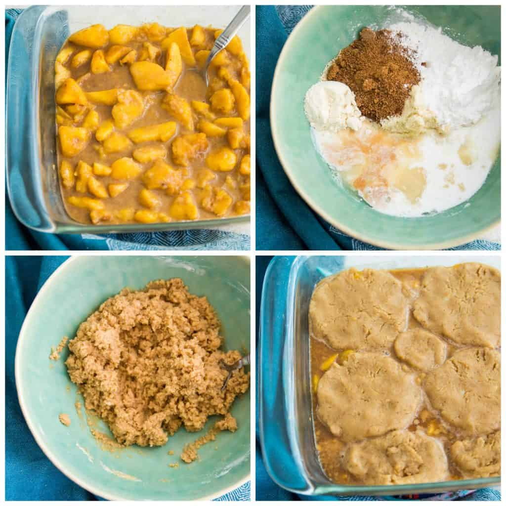 Directions for making paleo peach cobbler