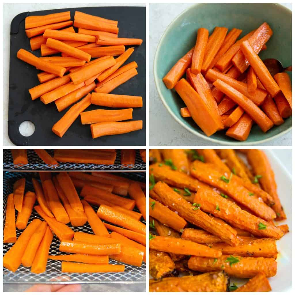Directions for making savoury carrots in the air fryer