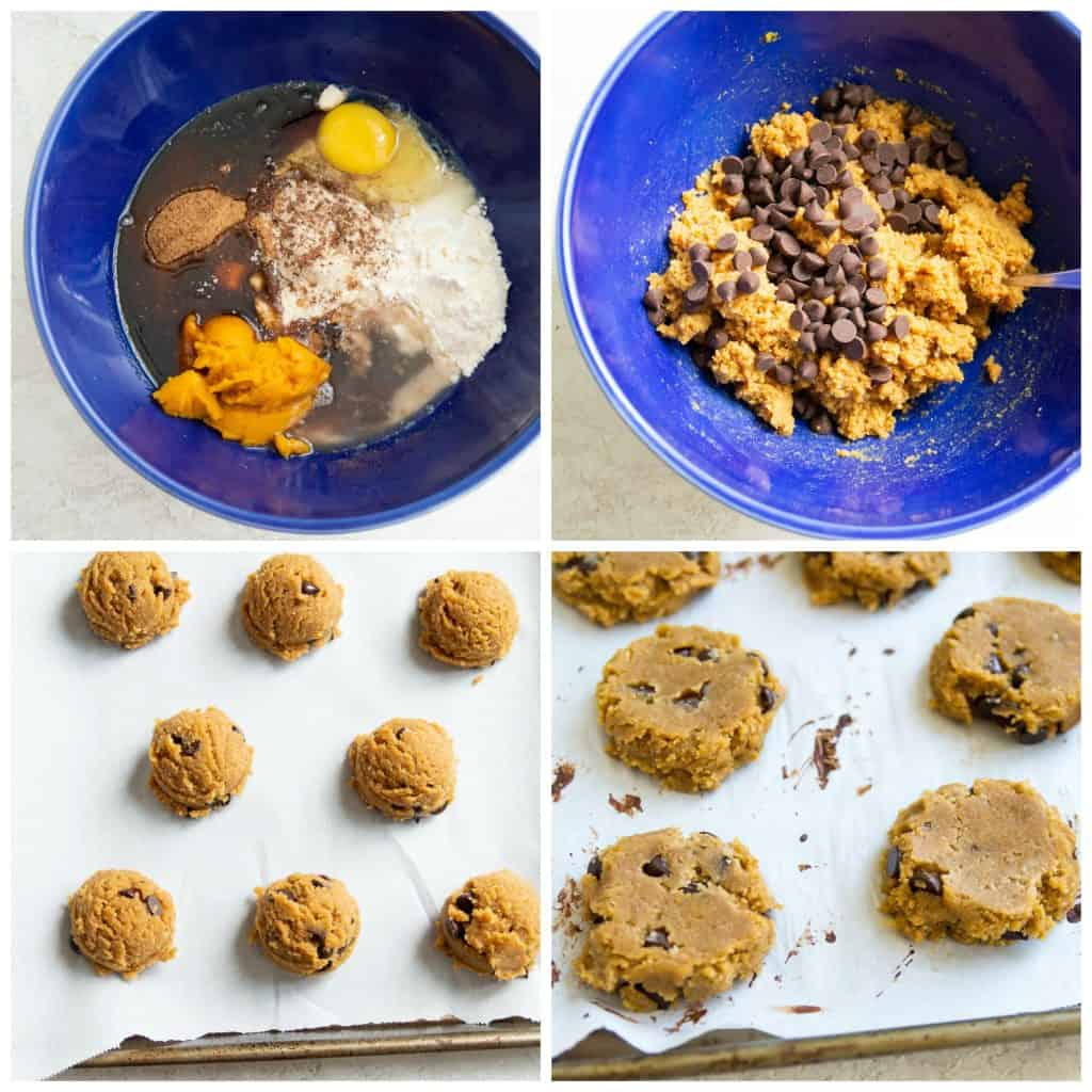 Step by step photos for making paleo pumpkin chocolate chip cookies