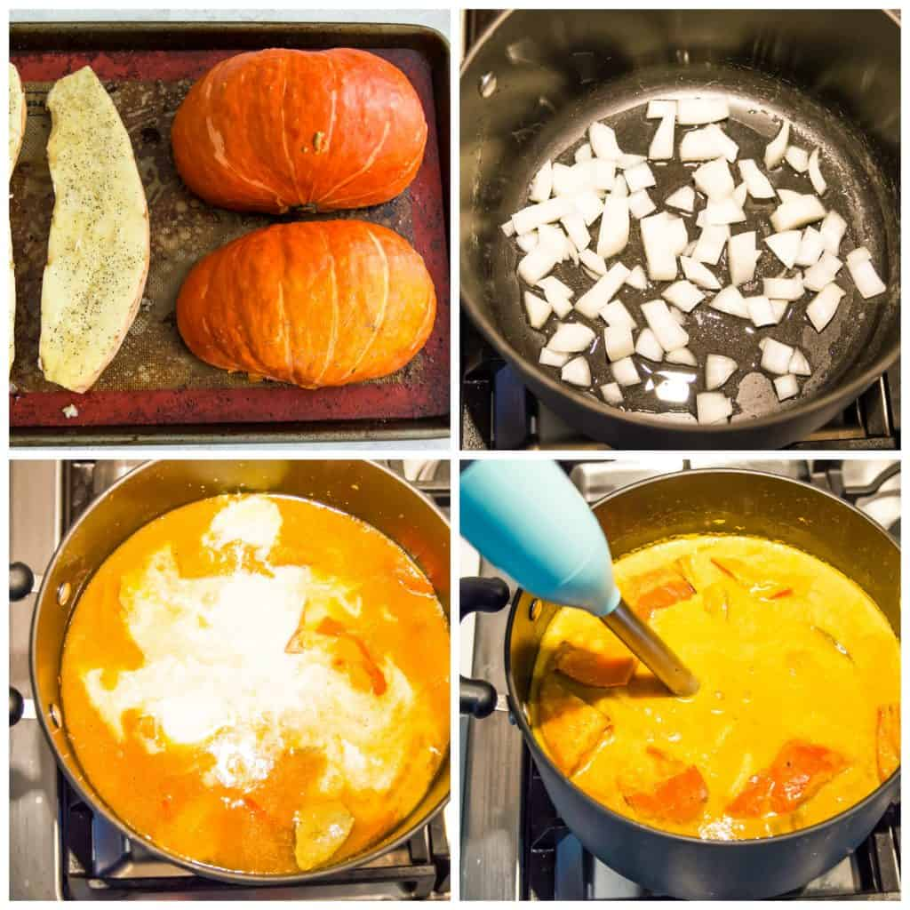 Step by step directions for making pumpkin and sweet potato soup