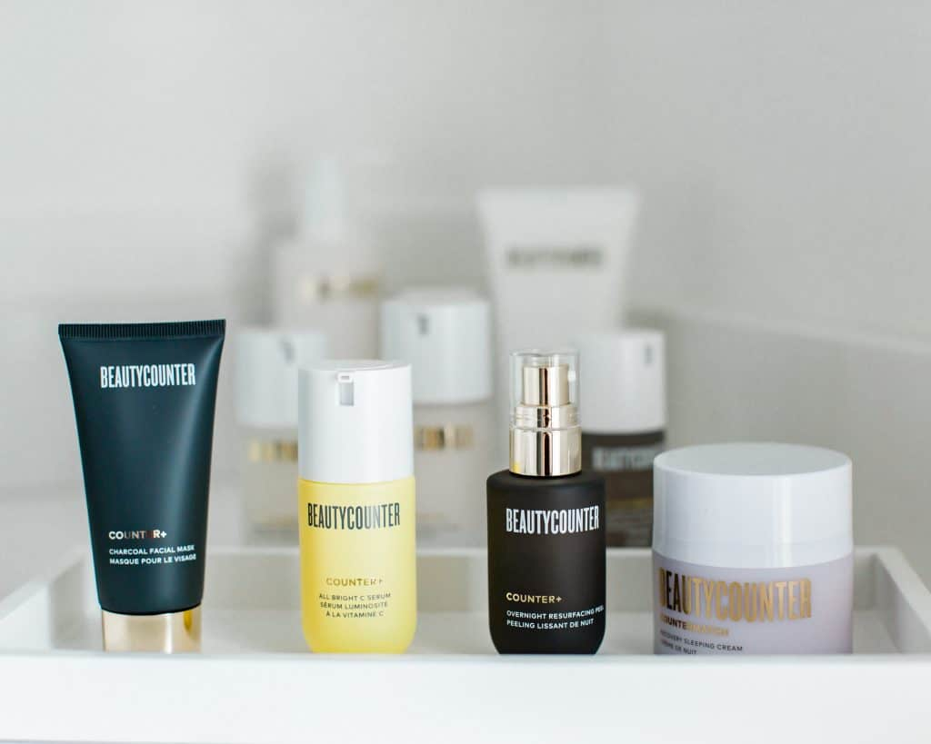 A tray of Beautycounter products that can be used to heal acne