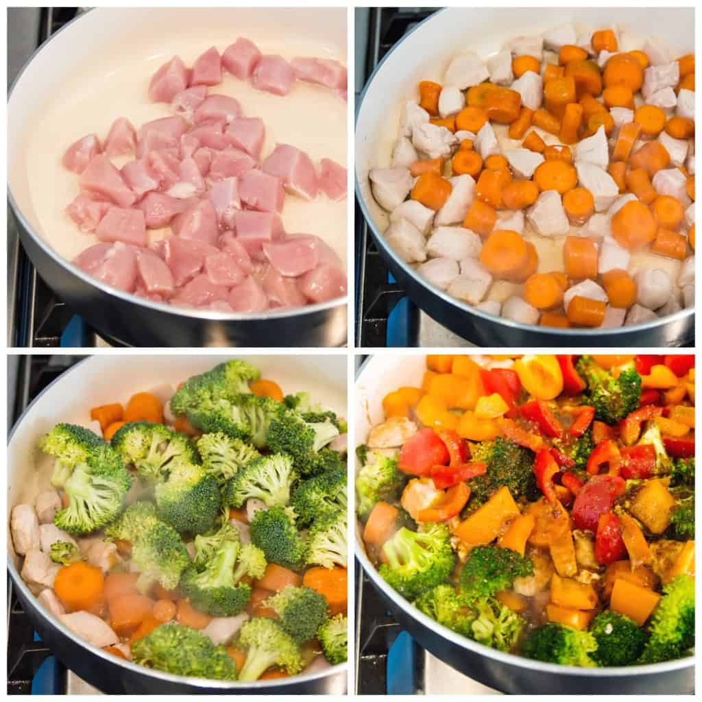 Step by step directions for making a Whole30 chicken stir fry