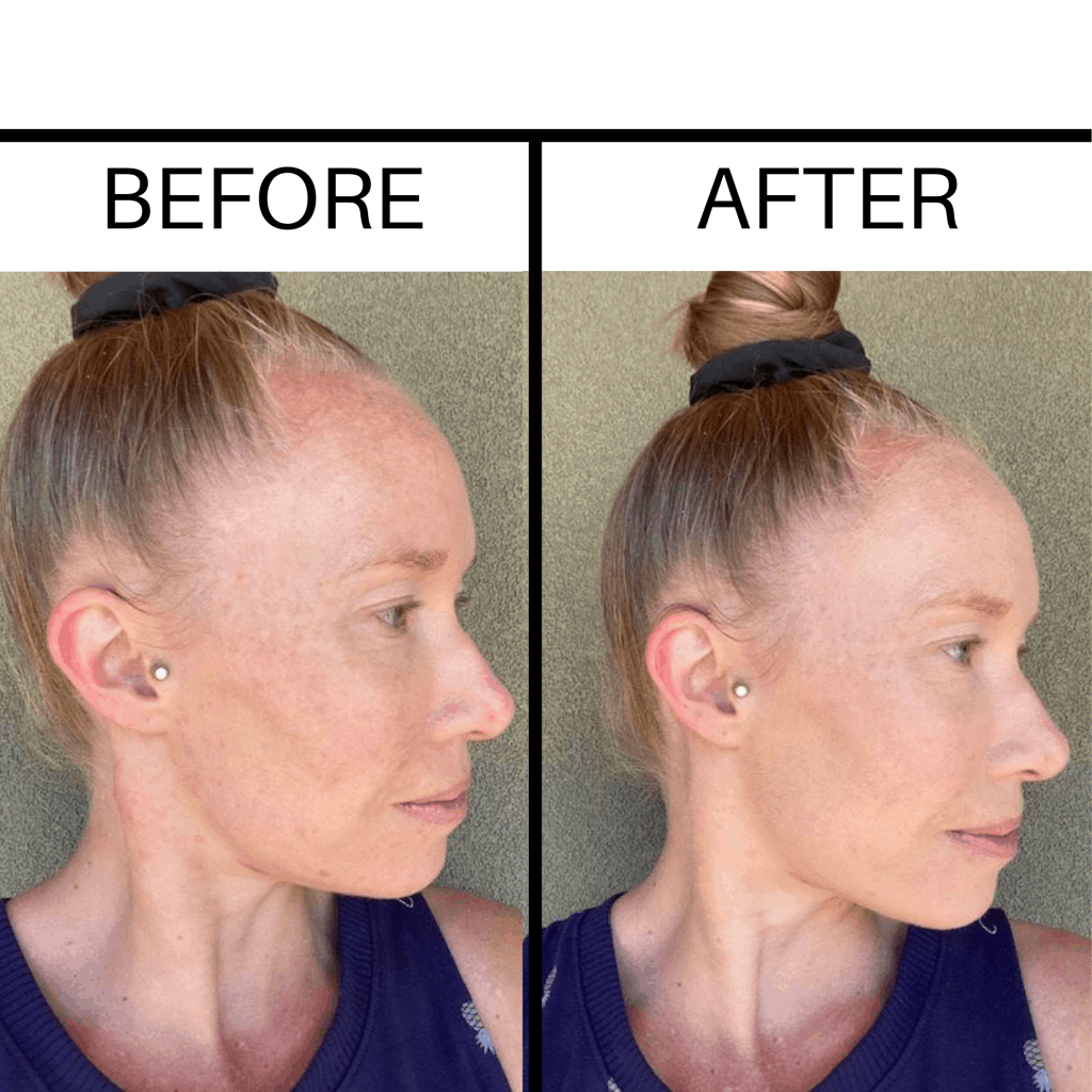 A before and after photo of a girl wearing Beautycounter foundation