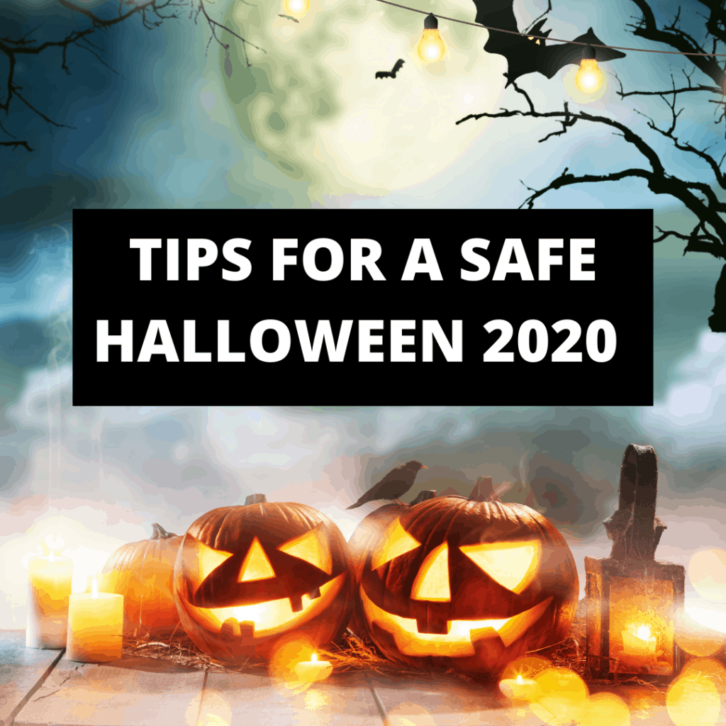 Title image for tips for a safe halloween 2020 with bats and pumpkins