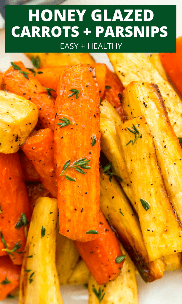 Honey glazed carrots and parsnips pinterest image
