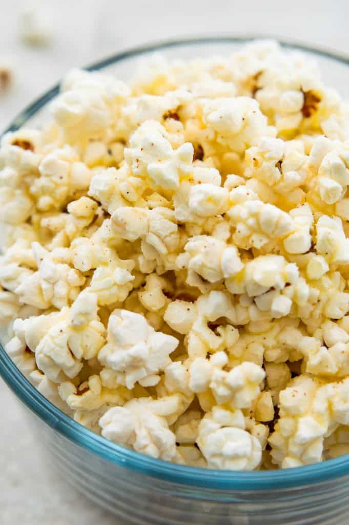 A large bowl of popcorn made in the air fryer