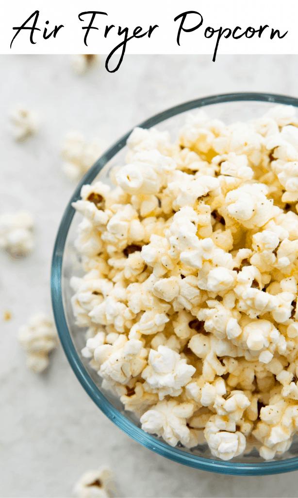 Air fryer popcorn Pinterest image