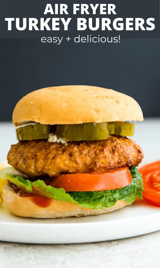 Air fryer turkey burgers Pinterest image