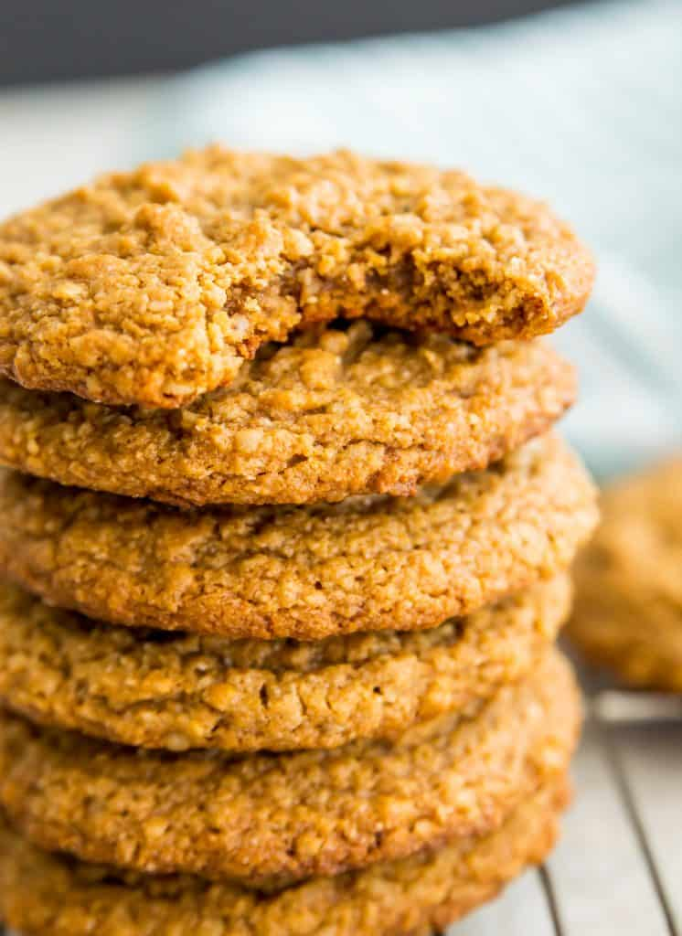 A stack of vegan peanut butter oatmeal cookies