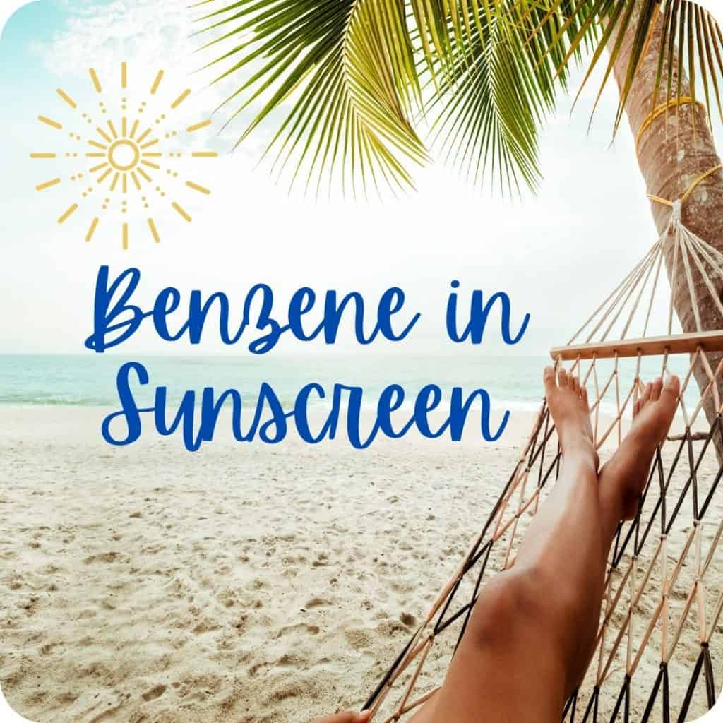 Benzene in sunscreen title image with a palm tree, sunshine and sand