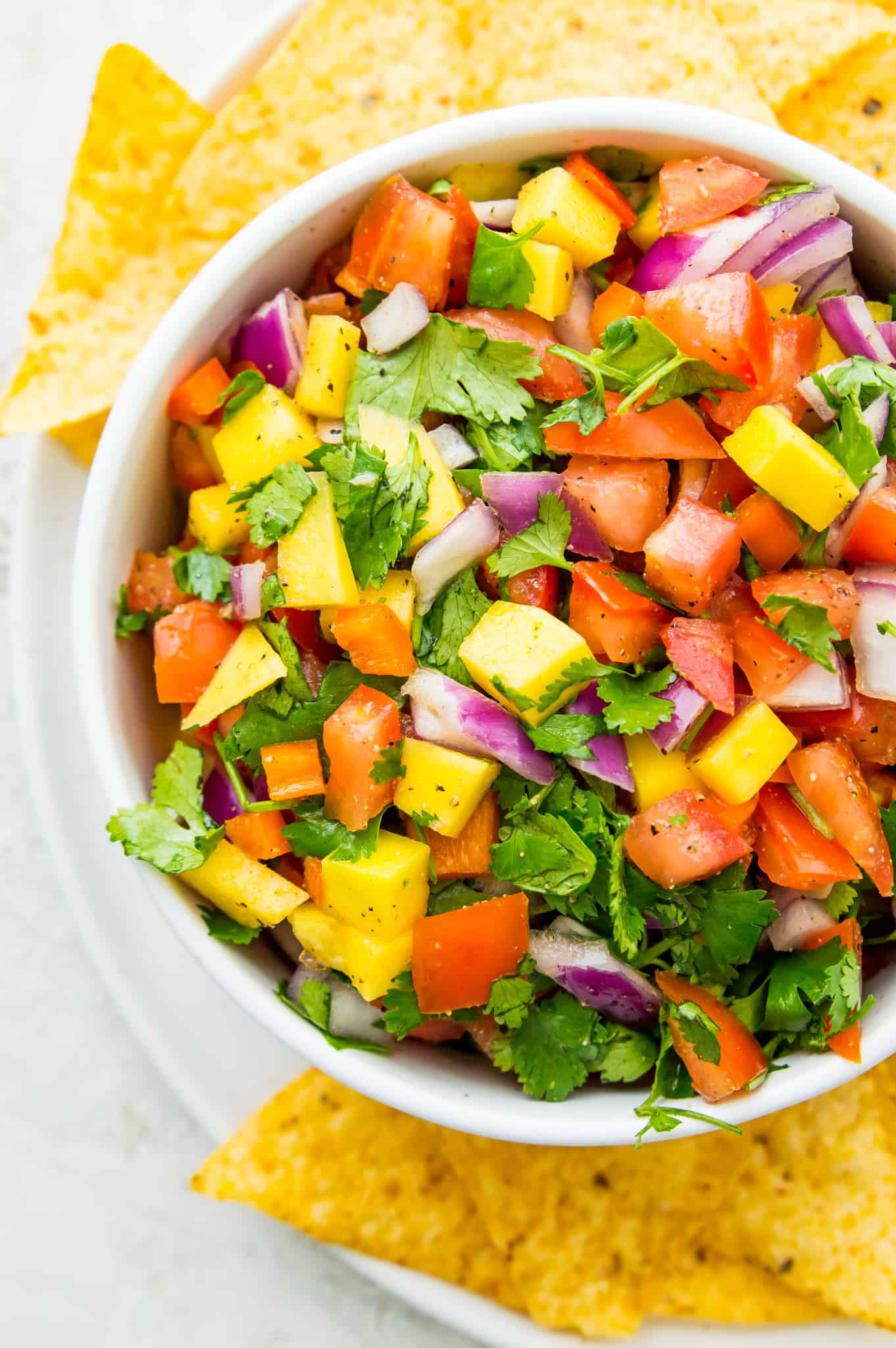 Close-up overhead shot of a bowl of mango habanero salsa with red onion, tomatoes, cilantro, and pepper