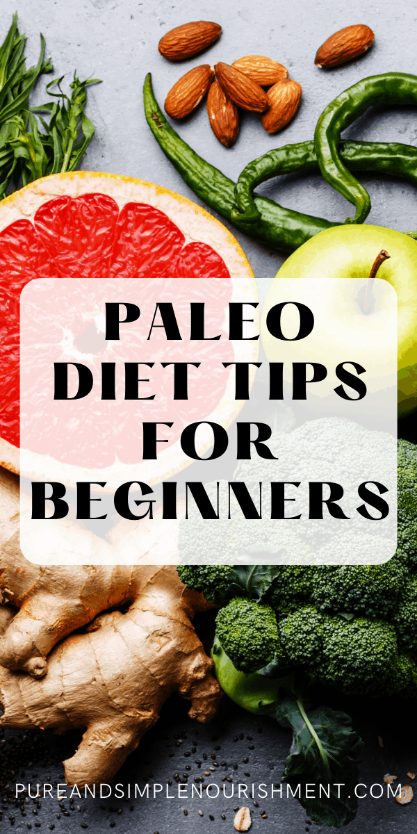 Paleo diet tips for beginners cover image with fruits and vegetables in the background