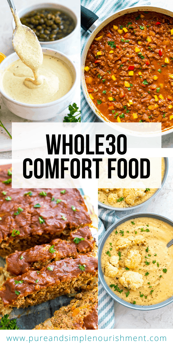 Whole30 Comfort Food cover image with photos of meatloaf, cauliflower soup and sloppy joes